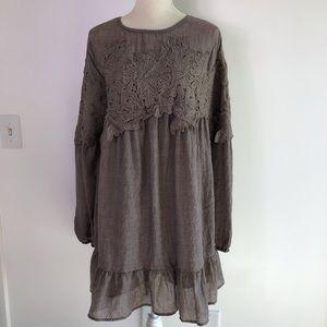 Umgee Boho Long Sleeves Lace Dress -C40